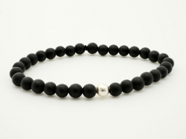 Bracelet perle noire Onyx mat