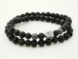 Bracelet Homme Perle de Lave et Bouddha double tour