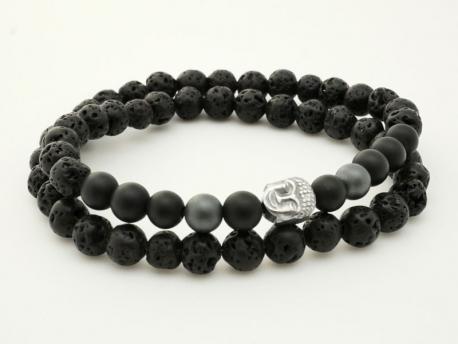 bracelet homme pierre volcanique