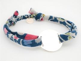 Bracelet grande médaille ronde en argent sur Liberty pour femme