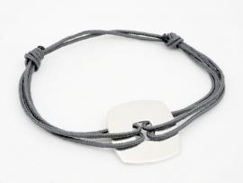 Bracelet cordon cible carrée en argent pour homme