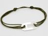 Bracelet cordon plaque ovale en argent pour homme