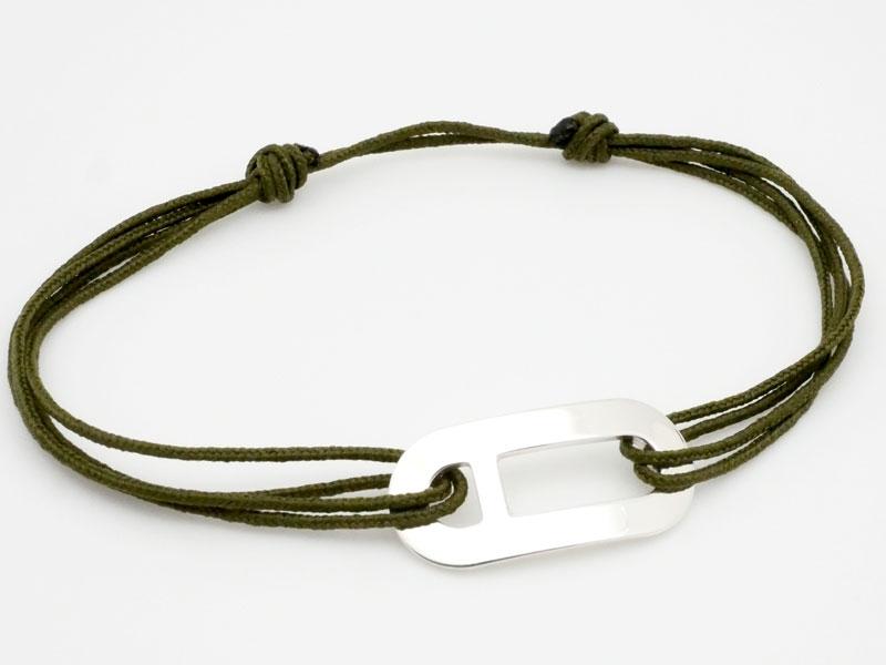 grand choix de 2cf19 04718 Bracelet cordon plaque ovale en argent pour homme