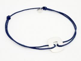 Bracelet cible carrée petit modèle en argent pour Homme