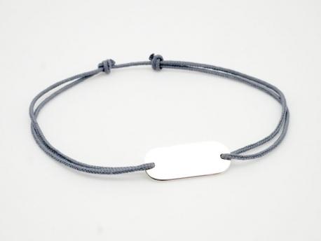 Bracelet petite plaque ovale en argent pour Homme