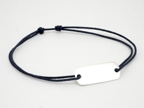 Bracelet cordon plaque en argent pour Homme