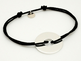 Bracelet cordon grande cible en argent pour homme