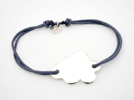 Bracelet nuage argent à graver sur cordon