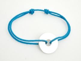 Bracelet cible en argent sur cordon à graver