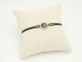 Bracelet pierre Labradorite et argent sur cordon
