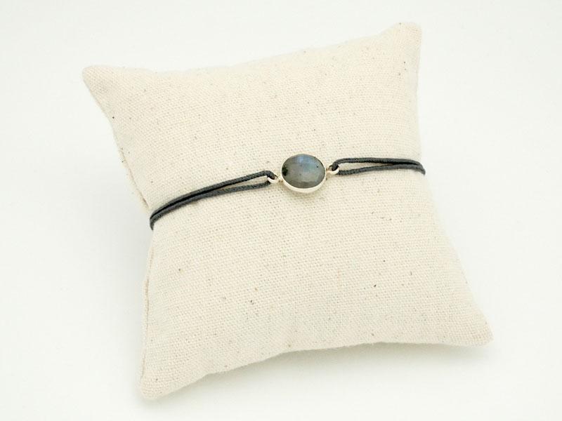 acheter populaire 95c98 0df92 Bracelet pierre Labradorite et argent sur cordon