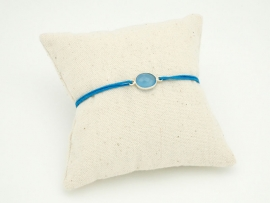 Bracelet pierre Calcédoine bleue et argent su cordon