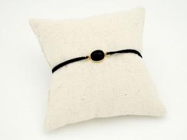 Bracelet Onyx et argent sur cordon