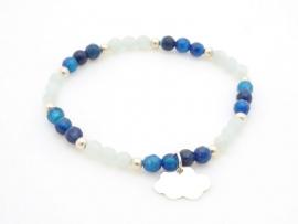 Bracelet perles à facettes et nuage en argent