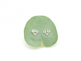 Boucles d'oreilles en forme de diamant en argent