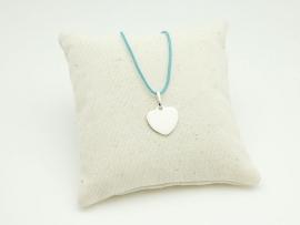 Collier cœur en argent sur cordon