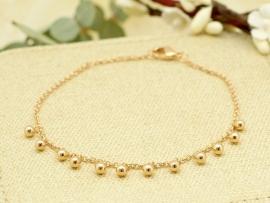Bracelet petits grelots en plaqué or
