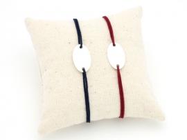 Bracelets Duo pour couple plaque ovale en argent sur cordon