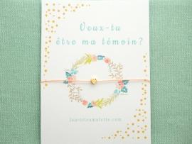 Bracelet mini perle cœur en plaqué or