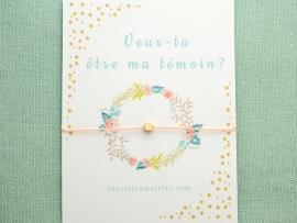 Bracelet mini perle trèfle en plaqué or
