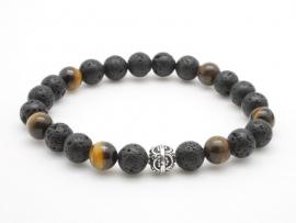 Bracelet Homme pierre de lave œil de tigre jaune et argent