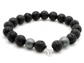 Bracelet Homme pierre de lave, hématite et argent