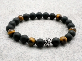 Bracelet  Homme perle d'onyx, œil de tigre et argent