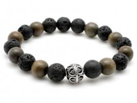 Bracelet Homme pierre de lave, bois et argent