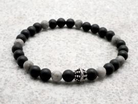Bracelet  Homme perle d'onyx mat et argent