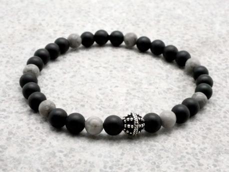 nouveau style c5d68 d3758 Bracelet Homme perle d'onyx mat et argent