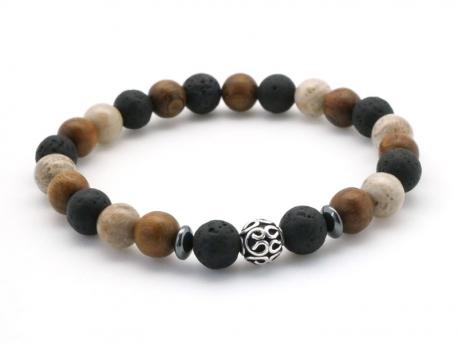 nouveau style 1697d c9e4f Bracelet Homme bois , pierre de lave et pierre fossilisée avec perle en  argent