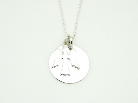 Pendentif ange gardien en argent avec médaille ronde 2 cm