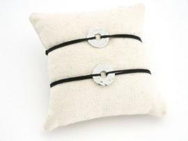 Bracelets couple en argent petite cible
