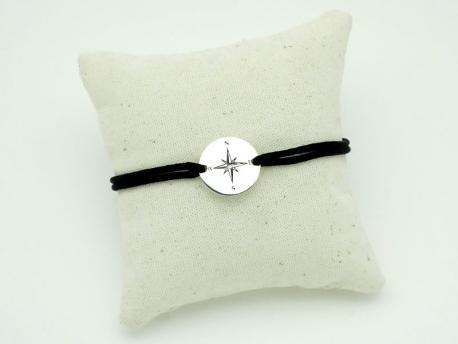 Bracelet cordon en argent pour homme rose des vents